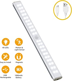 Under Cabinet Lighting with Motion Sensor 40 LEDs, Wireless 1000mAh Rechargeable Cabinet Lights, Magnetic Under Counter Lighting, Portable LED Night Light for Closet Cabinet/Cupboard/Wardrobe (White)