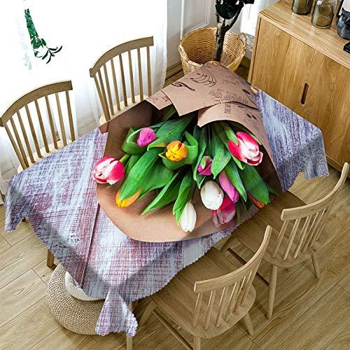 Nappe de Fleur Rose 3D Nappe rectangulaire en Coton Lavable Anti-poussière pour la Variation de décoration de Mariage A5