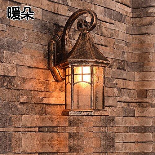 JJZHG Wandlamp, waterdicht, wandverlichting, buitenwandlamp, waterdicht, buitenshuis, creatieve tuinlamp, landbalkontrap, buiten wandlamp, zwarte riem 35 W gloeilamp, wandlamp