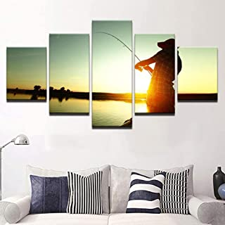 TYUIOP Canvas Painting 5 Pieces HD Prints Picture Modular Canvas Poster Wall Art 5 Pieces Fisherman Fishing Sunset Landsca...