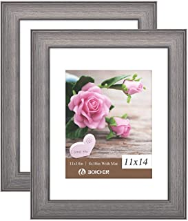 Boichen 11x14 Picture Frames Rustic Solid Wood High Definition Glass for Tabletop Display and Wall Mounting Photo Frame Gray Brown 2 Pack