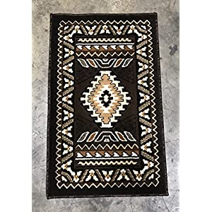 Southwest Native American Door Mat Area Rug Chocolate Brown Kingdom Design# D143 (2ftx3ft4in.)