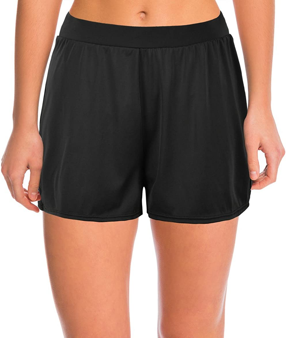 Septangle Women's Solid Color Waistband Tankini Boyleg Swimsuit Boardshorts with Briefs