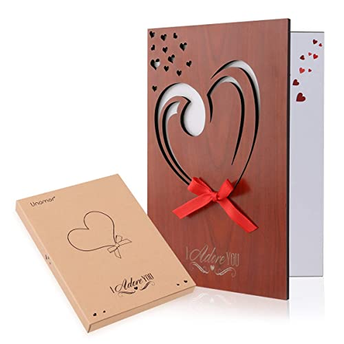 Unomor Love Card Handmade Imitation Wood Anniversary Greeting For Mothers Day Birthdays Weddings