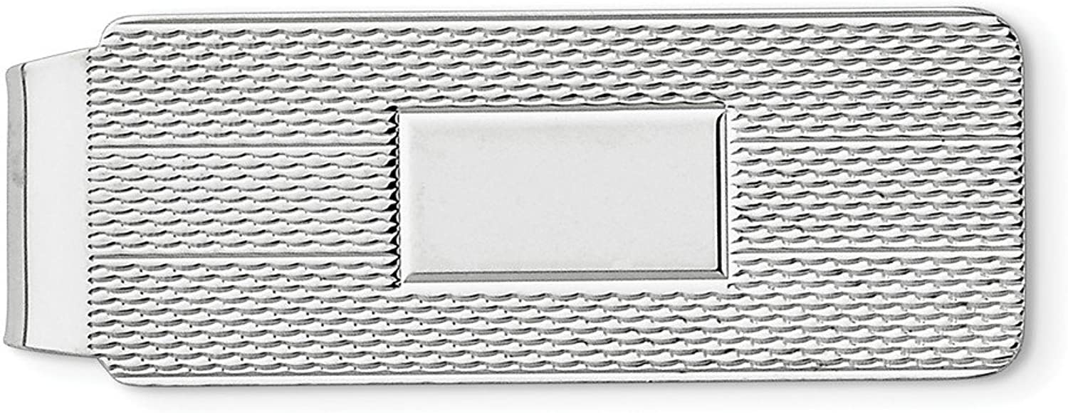 Sterling Silver Solid Textured Polished Engravable Money Clip