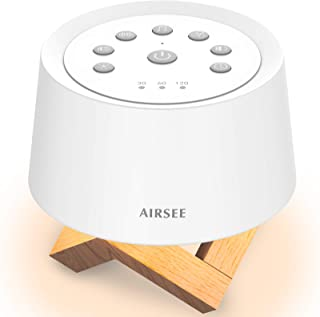 AIRSEE Sound Machine & Night Light, Rechargeable White Noise Machine with 31 Soothing Sounds for Sleeping, Breathing Lamp...