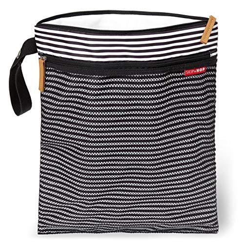 Skip Hop Waterproof Wet Dry Bag, Black & White Stripe