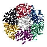 ShipeeKin 140x MTB 自転車用 シフター ブレーキ ケーブル チップ キャップ エンド クリンプ/ワイヤーエンドキャップ (7色: 赤、パープル、ゴールド、青、緑、黒、銀色)
