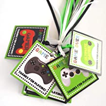 Video Games Thank You Favor Tags - Kids Children Goodie Bags Birthday Party Gift Tags - Set of 12