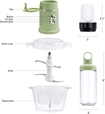 Food Processor - Blender and Food Processor Combo, 3 in 1 Food Chopper Electric for Meat, Vegetables, Fruits, 1.5L Glass Bowl