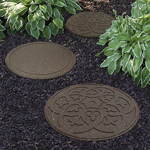 Garden Gear Garden Stepping Stones Ornamental Path Eco Friendly Weatherproof Recycled Rubber with Scroll Design (12 Stones, Earth)