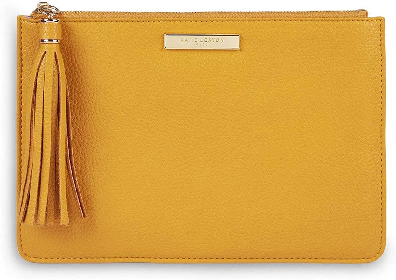 Katie Loxton Sophia Tassel Pouch Womens Medium Vegan Leather Clutch Handbag in Ochre