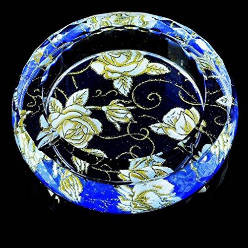 cendrier Xuan - worth having Blue Rose Pattern Round Style lumineux verre de cristal Décoration élégante personnalisée de salon (taille : 25*25*4.5cm)