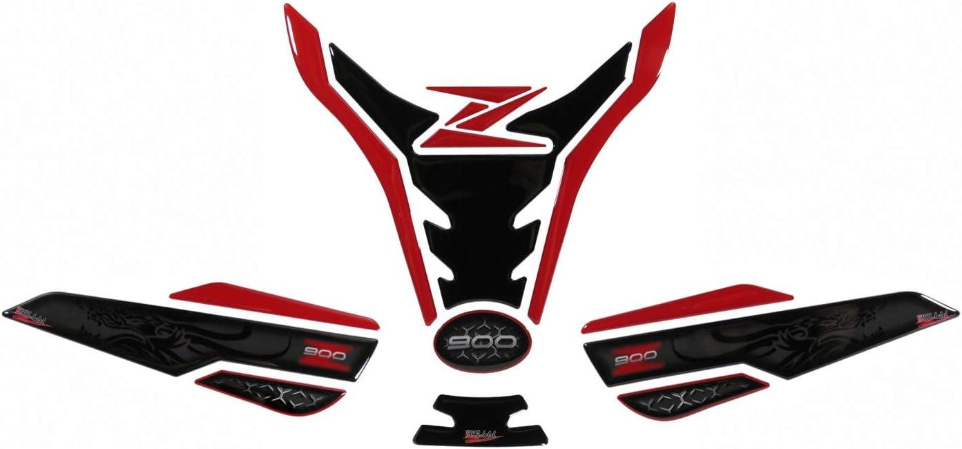 BIKE-label 850033-VA - Juego de protectores para depósito de moto (compatible con Kawasaki Z900), diseño de dragón, color rojo y negro