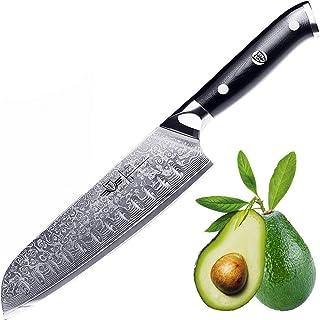 Kitchen Emperor Couteaux Santoku, Couteau Cuisine Professionnel, Damas de Santoku en 67 Couche Acier avec poignée G10