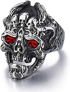 خاتم رأس الجمجمة القوطية للرجال، جمجمة الشرير التنين الدائري الهيب هوب متعدد الجمجمة للبنين