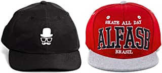 9a5215f902c5f Kit 2pçs De Bonés Alfa Dad Hats Barber Snapback Skate All Day Red