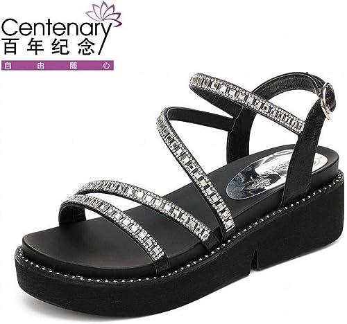 LTN Ltd - sandals Talon Compensé en en Strass avec Bas épais, Sandales en éponge, été, Chaussures Décontractées, Chaussures Femmes, étudiants, Noir, 40