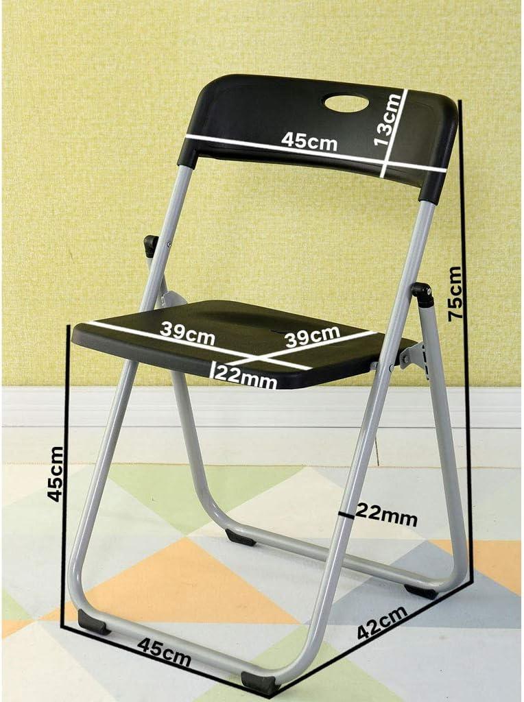 SLL- Chaise d'ordinateur Chaise Pliante Dossier Simple Accueil Tabouret Salle à Manger Chaise Pliante Tabouret Bureau Loisirs Portable Moderne (Color : Blue) Black