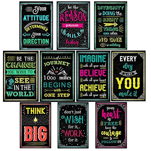 nuoshen Motivationsposters, inspirierende Positive Zitate, Poster für Studenten, Lehrer, Schule, Klassenzimmer, Wanddekoration, 10 Blatt