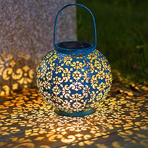 Linterna Solar Exterior 2 Piezas LED Farol Solar Jardín Lámpara Metal Impermeable Luz Colgante Decorativas Vintage Farolillo Solar Luces de Decoracion para Camping Terraza Patio Césped Arboles Fiesta