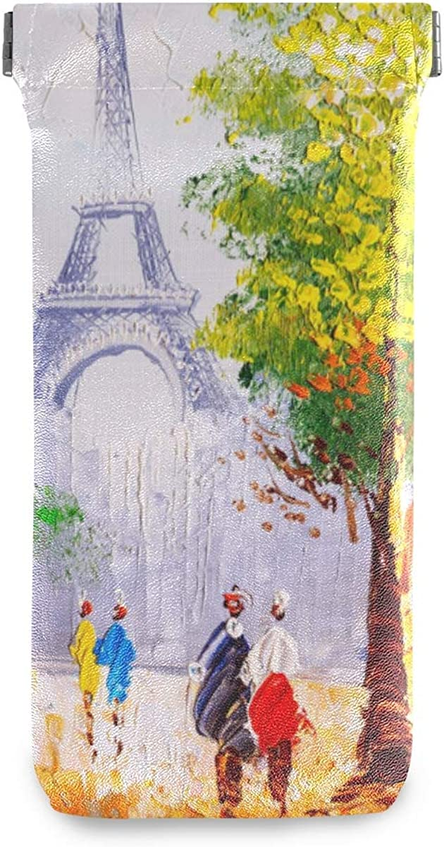 Limited time for free shipping VIKKO Oil Painting Paris Street 5 ☆ very popular Microfiber Leathe Pouch Eyeglass