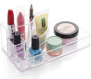 House of Quirk Cosmetic Make Up Storage Cosmetic Acrylic Organizer 8 Slot Holder - Clear