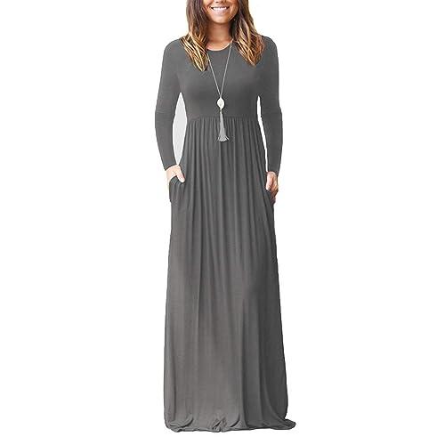PCEAIIH Women Long Sleeve Loose Plain Maxi Dresses Casual Long Dresses with  Pockets 854c0b681