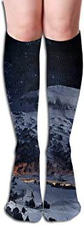 Zcfhike Tube Knee High Socks Mountains-Nature-Stars-Night-Lights-Snow-Winter-Landscape-Download-HD-Wallpaper-for-Laptop Men's Over-The-Calf Tube Sports Socks Extra Long Compression Stocking