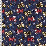 Jersey Stoff Paw_Patrol dunkelblau Hunde Buchstaben 0,50m x