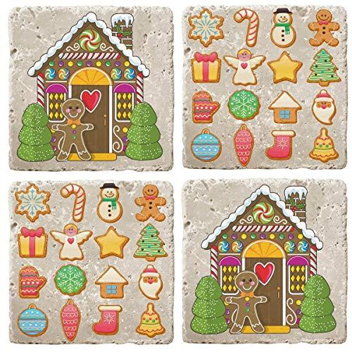 Posavasos de piedra travertino de Navidad, juego de 4 posavasos (juego de galletas de Navidad)
