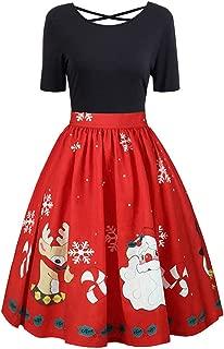 TOTOD Christmas Dress,Women Vintage Print Plus Size Evening Xmas Costume Retro Party Swing Criss Cross Dresses
