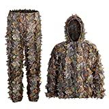 Ghillie Suit, Adult 3D Hunting Suit, Kids 3D Leafy Hooded Camouflage Clothing, Outdoor Woodland, Sniper Costume Camo Outfit for Jungle Hunting, Military Game, Wildlife Photography, Halloween.