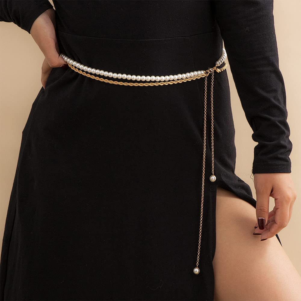 Waist Chain Multilayer Chain Imitation Pearl Pendant Body Chain Jeans Dress Waist Chain Adjustable Tight Waist Chain Gold for Party Wedding Work Travel Party Nice Birthday Holiday Gift