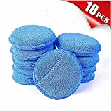 AIVS Car Care Microfiber Wax Applicator Pads with Finger Pocket for Any Cars, Truck, Boat, Motorcycle and RV. Wax Applicator Foam Sponge (Blue, 5' Diameter, Pack of 10)