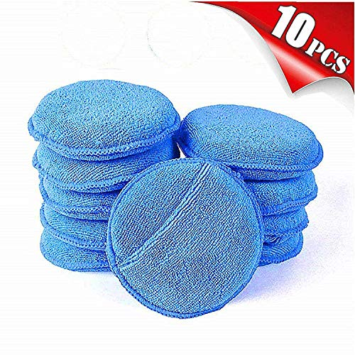 "AIVS Car Care Microfiber Wax Applicator Pads with Finger Pocket for Any Cars, Truck, Boat, Motorcycle and RV. Wax Applicator Foam Sponge (Blue, 5"" Diameter, Pack of 10)"