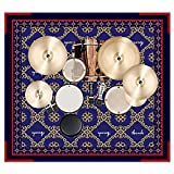 Aucuda Drum Rug for Drum Set, 6x6.6 ft Drum Mat for Electric Drums, Tightly Woven Fabric Drum Carpet with Non-Slip Grip Bottom, Starry Sky Blue, Great Gift for Drummers