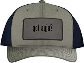 One Legging it Around got ayja? - Leather Grey Patch Engraved Trucker Hat