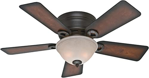 """popular Hunter Conroy Indoor Low Profile Ceiling online Fan with LED Light and Pull wholesale Chain Control, 42"""", Onyx Bengal outlet online sale"""