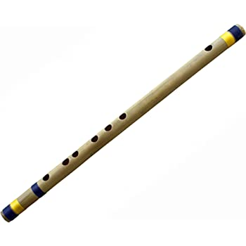 Indian Transverse Bamboo Flute Musical Instruments (D Tune) Woodwind Professional Bansuri 17 Inches