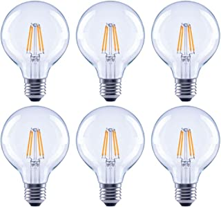 Asencia AN-03682 60 Watt Equivalent G25 Globe Clear All Glass Vintage Filament Dimmable LED Light Bulb, Soft White, 6-Pack