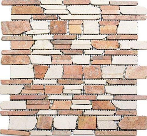 Natura del mosaico di pietra multi formato rosso beige