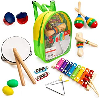 Stoie's 17 pcs Musical Instruments Set for Toddler and Preschool Kids Music Toy - Wooden Percussion Toys for Boys and Girl...