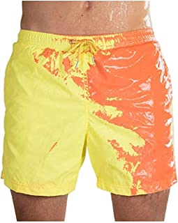 Funny Color Changing Swim Trunks, Temperature Sensitive Men Beach Shorts Quick Dry Swimming Pants, for Surfing/Swimming Summer Men Summer Cool Comfortable Breathable Sport Short Pants,Yel.