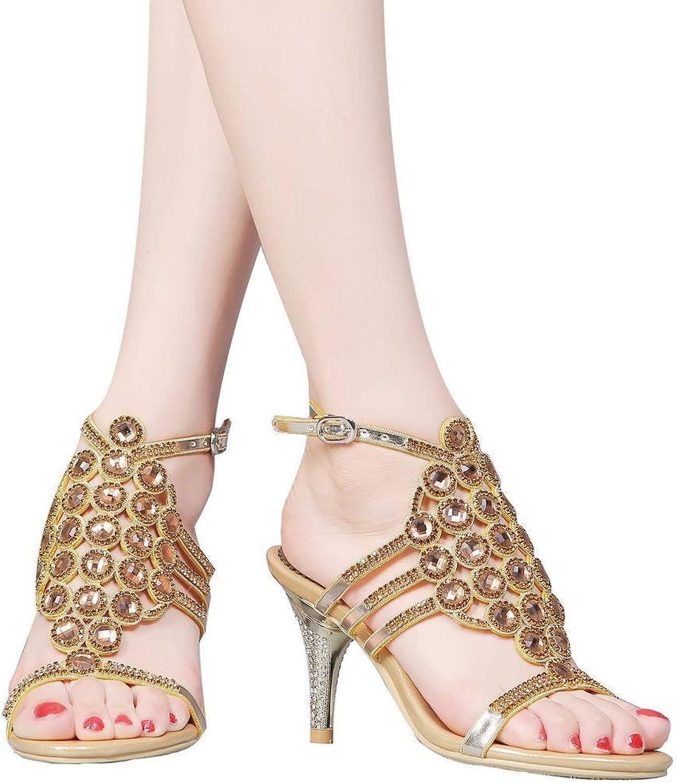 YooPrettyz Women Rhinestone Heel Sandal Shield Wedding Party Sandals shoes Cutout Evening Heels