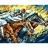 番号でペイント 競馬 - 絵画デジタル絵画油絵 数字キットによる絵画手塗り DIY絵 デジタル油絵塗り絵 クリスマスプレゼント、キッズバースデーギフト40x50cm (フレームレス)