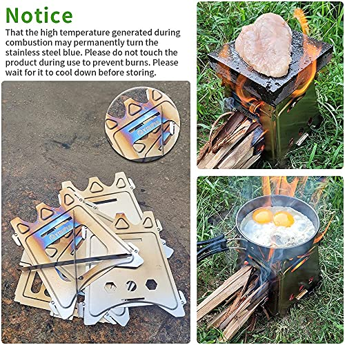 Youful Compact Collapsible Camping Stove - Stainelss Steel Stoker Flatpack Stove for Hiking and Backpacking, Easy Carry and Assemble, Twig, Stick, or Wood Burning