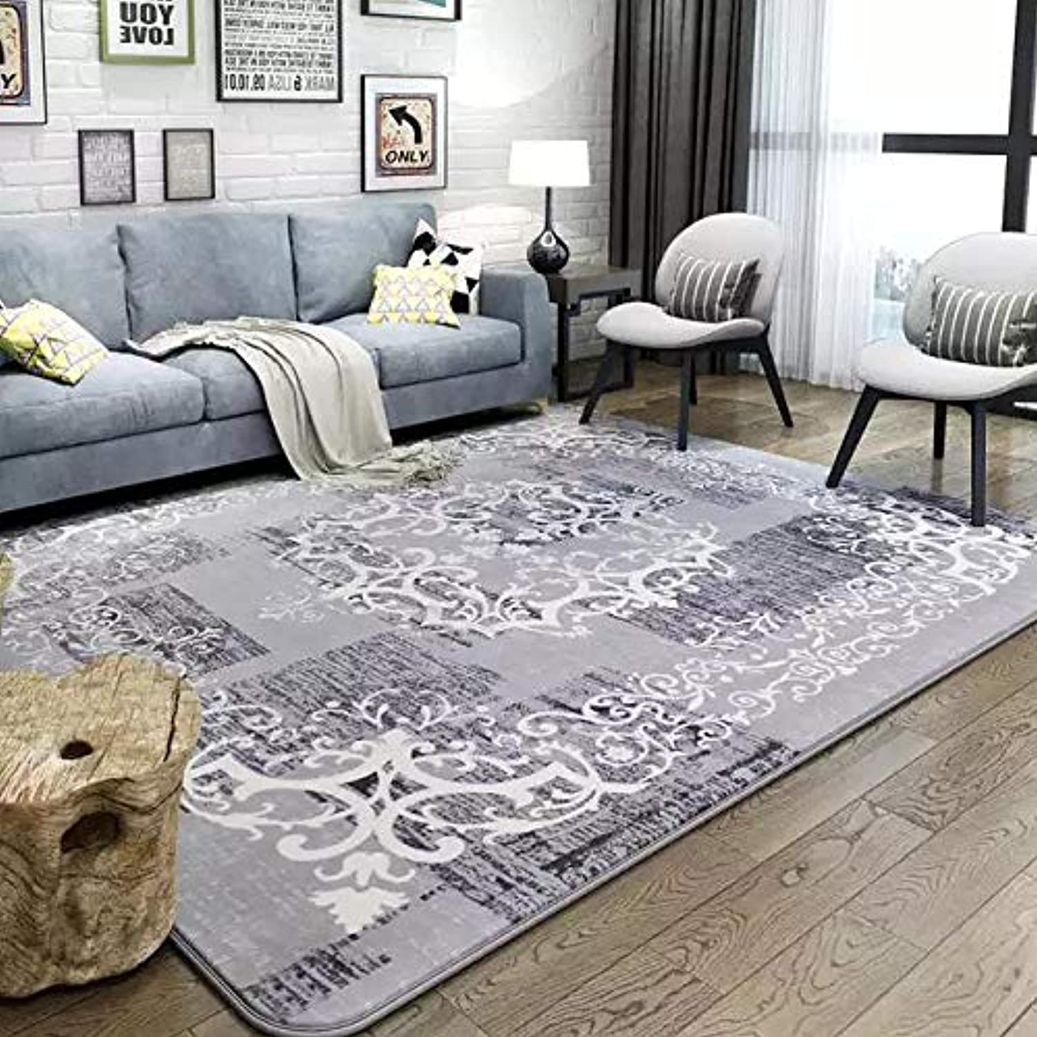 Blanket Area Rug Collection Scroll Abstract Design Area Rug Rugs Slip Skid Resistant Backing (Grey, 7 x 8 (6'7  x 7'10 ))