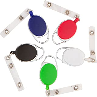5 Pack Badge Holders - Multiple Colors with Stainless Steel Clip and Retractable Holder for Instant, Easy Access to Your Badge. Built for Business Professionals and Office Workers.