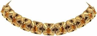 House of Harlow 1960 Art Deco Orange & Dark Grey Crystal Choker Necklace 15